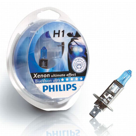 Лампа PHILIPS H1 55W Blue Vision (12258BV2) (5). Артикул: